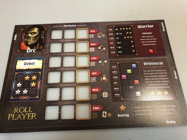 Roll Player - Player board