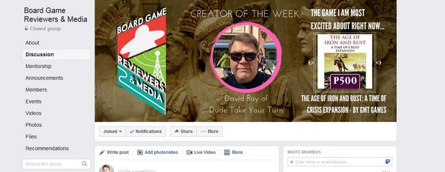 Board Game Reviewers Creator of the Week